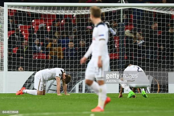 TOPSHOT CORRECTION Tottenham Hotspur's English defender Kyle Walker and Tottenham Hotspur's Belgian defender Jan Vertonghen react after Gent scored...