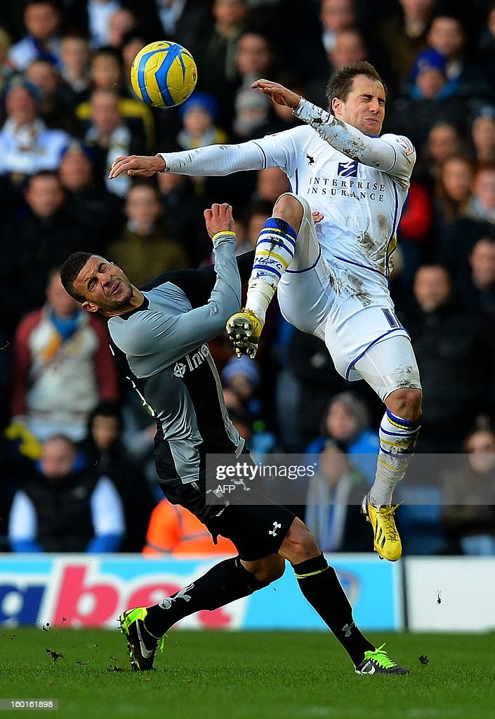 """Tottenham Hotspur's English defender Kyle Walker (L) vies with Leeds United's English forward Luke Varney during the FA Cup football match between Leeds United and Tottenham Hotspur at Elland road stadium in Leeds, northern England on January 27, 2013. Leeds won 2-1. AFP PHOTO/ANDREW YATES. RESTRICTED TO EDITORIAL USE. No use with unauthorized audio, video, data, fixture lists, club/league logos or """"live"""" services. Online in-match use limited to 45 images, no video emulation. No use in betting, games or single club/league/player publications."""