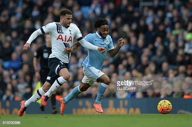Tottenham Hotspur's English defender Kyle Walker vies with Manchester City's English midfielder Raheem Sterling during the English Premier League...