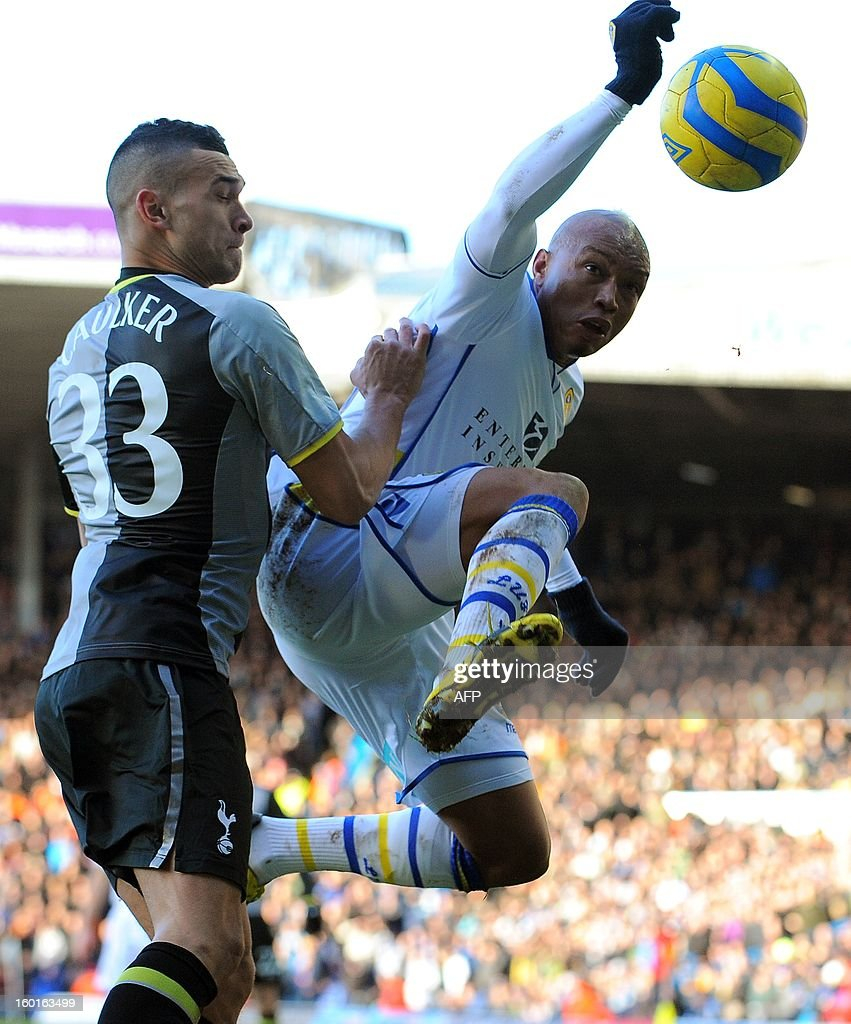 "Tottenham Hotspur's English defender Steven Caulker (L) vies with Leeds United's Senegalese forward El Hadji Diouf during the FA Cup football match between Leeds United and Tottenham Hotspur at Elland road stadium in Leeds, northern England on January 27, 2013. Leeds won 2-1. AFP PHOTO/ANDREW YATES. RESTRICTED TO EDITORIAL USE. No use with unauthorized audio, video, data, fixture lists, club/league logos or ""live"" services. Online in-match use limited to 45 images, no video emulation. No use in betting, games or single club/league/player publications."
