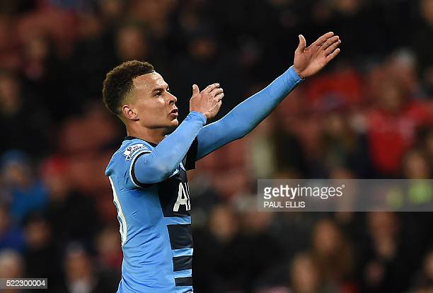 Tottenham Hotspur's English midfielder Dele Alli celebrates after scoring his team's second goal during the English Premier League football match...