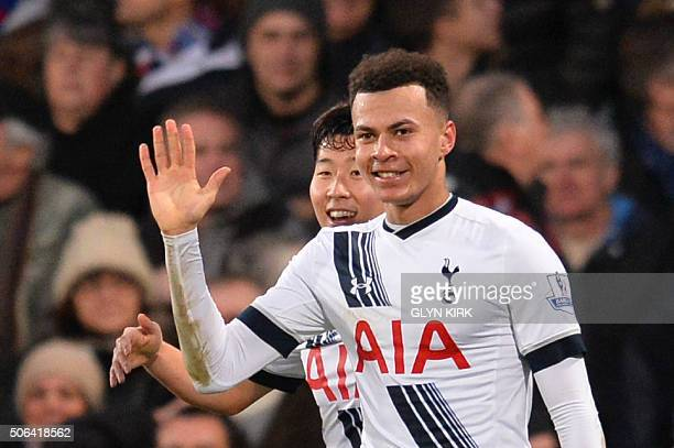 Tottenham Hotspur's English midfielder Dele Alli celebrates scoring their second goal during the English Premier League football match between...