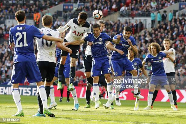 Tottenham Hotspur's English midfielder Dele Alli vies with Chelsea's Spanish defender Cesar Azpilicueta during the FA Cup semifinal football match...