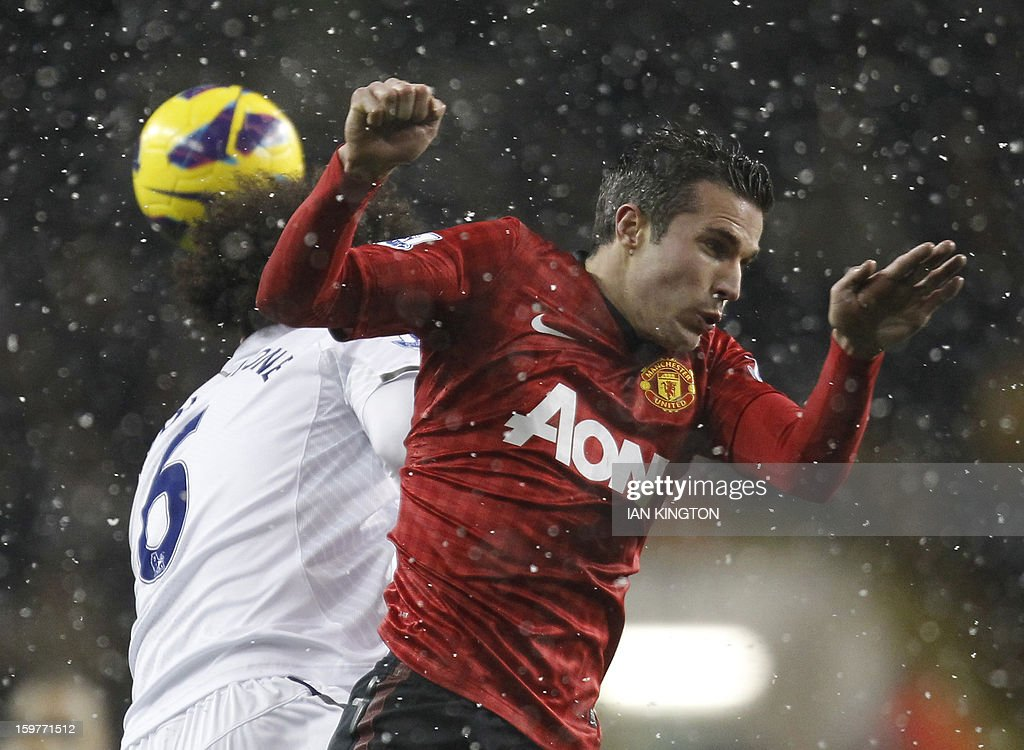 "Tottenham Hotspur's English midfielder Tom Huddlestone (L) vies with Manchester United's Dutch striker Robin van Persie (R) during the English Premier League football match between Tottenham Hotspur and Manchester United at White Hart Lane in London on January 20, 2013. A stoppage-time goal by Clint Dempsey saw Tottenham Hotspur snatch a 1-1 draw at home to Manchester United on that prevented the Premier League leaders from restoring their seven-point lead. USE. No use with unauthorised audio, video, data, fixture lists, club/league logos or ""live"" services. Online in-match use limited to 45 images, no video emulation. No use in betting, games or single club/league/player publications."