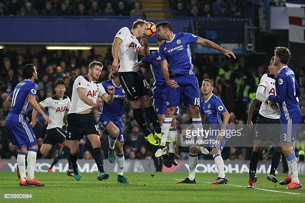 Tottenham Hotspur's English striker Harry Kane and Chelsea's Brazilianborn Spanish striker Diego Costa go up for a header during the English Premier...