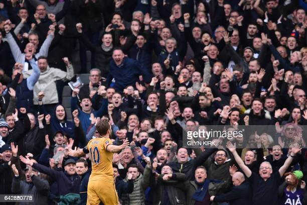 Tottenham Hotspur's English striker Harry Kane celebrates after scoring a hattrick during the English FA Cup fifth round football match between...