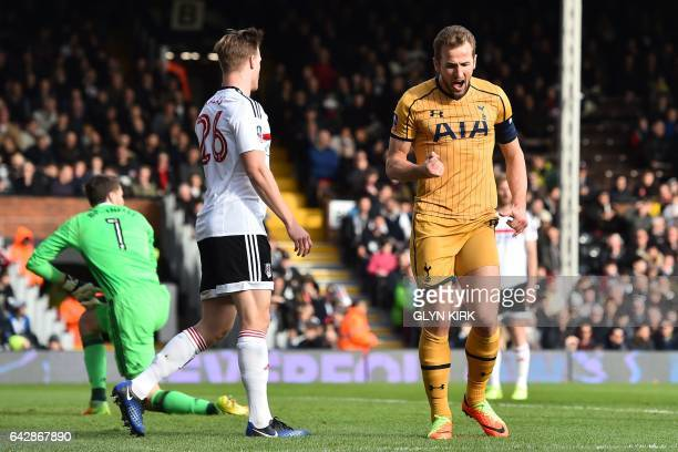 Tottenham Hotspur's English striker Harry Kane celebrates after scoring during the English FA Cup fifth round football match between Fulham and...