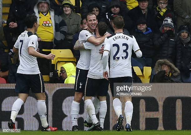 Tottenham Hotspur's English striker Harry Kane celebrates scoring his team's second goal during the English Premier League football match between...