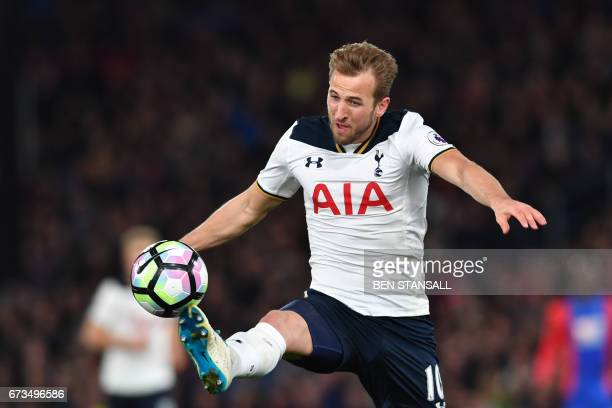 Tottenham Hotspur's English striker Harry Kane controls the ball during the English Premier League football match between Crystal Palace and...