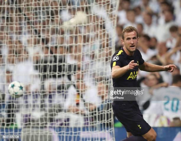 Tottenham Hotspur's English striker Harry Kane during the UEFA Champions League group H football match Real Madrid CF vs Tottenham Hotspur FC at the...