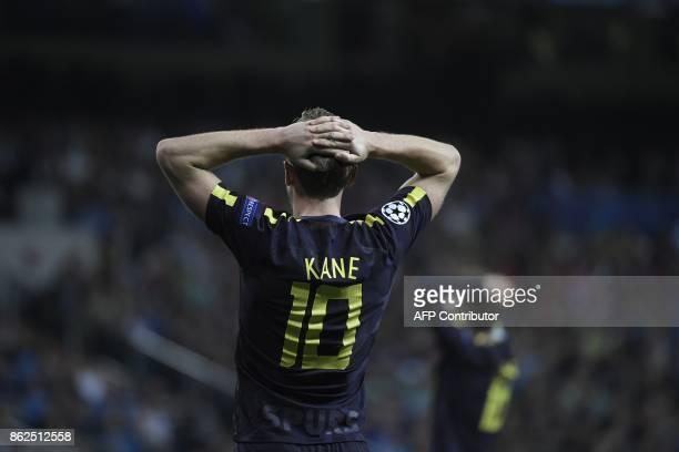 Tottenham Hotspur's English striker Harry Kane reacts during the UEFA Champions League group H football match Real Madrid CF vs Tottenham Hotspur FC...