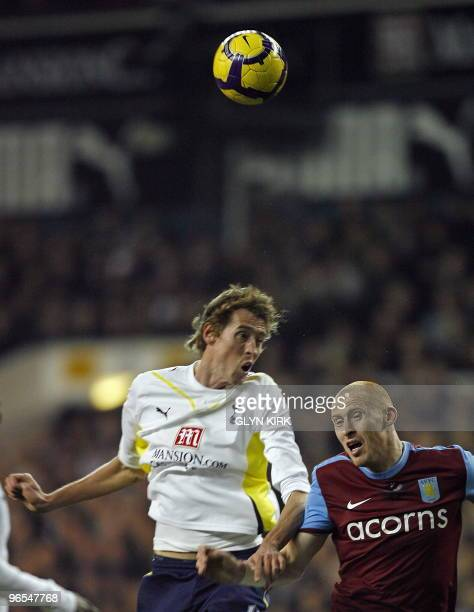 Tottenham Hotspur's English striker Peter Crouch vies with Aston Villa's Welsh defender James Collins during the English Premier League football...