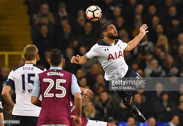 Tottenham Hotspur's Englishborn US defender Cameron CarterVickers jumps to win a header during the English FA Cup third round football match between...