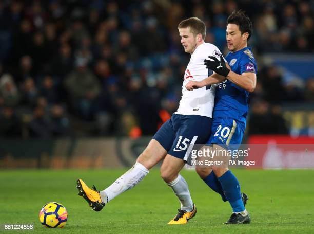 Tottenham Hotspur's Eric Dier and Leicester City's Shinji Okazaki battle for the ball during the Premier League match at the King Power Stadium...