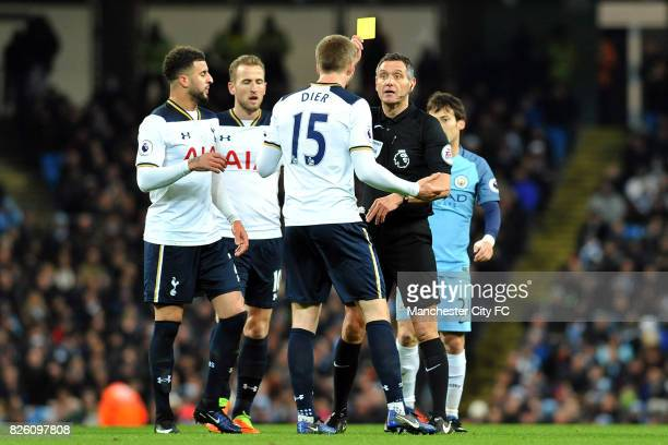 Tottenham Hotspur's Eric Dier is booked during the Premiership match at the Etihad Stadium Manchester on 21st January 2017
