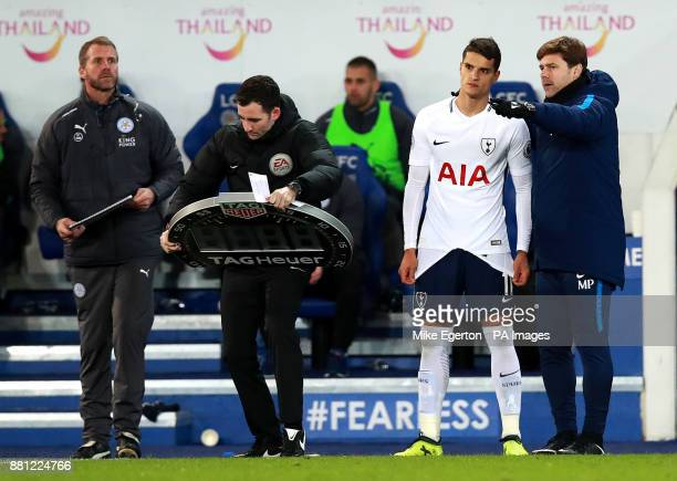 Tottenham Hotspur's Erik Lamela is substituted on during the Premier League match at the King Power Stadium Leicester