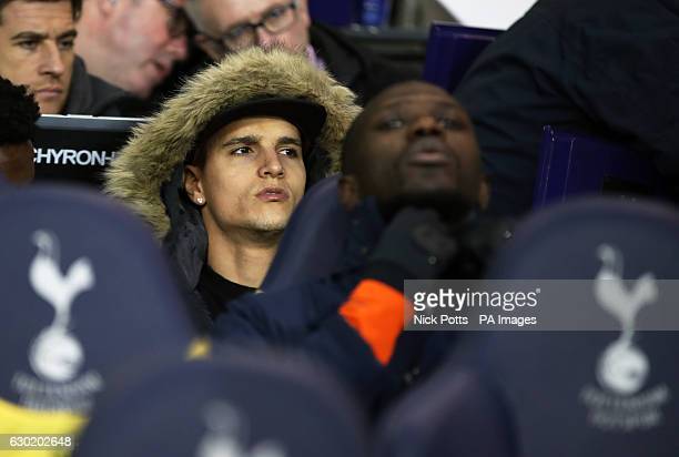 Tottenham Hotspur's Erik Lamela watches from the bench during the Premier League match at White Hart Lane London