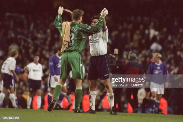 Tottenham Hotspur's Espen Baardsen celebrates with Nicola Berti at the end of the game