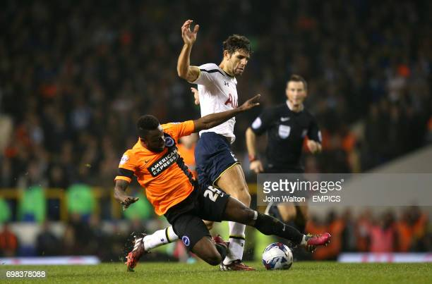 Tottenham Hotspur's Federico Fazio and Brighton Hove Albion's Kazenga LuaLua battle for the ball
