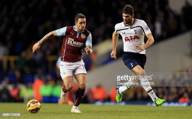 Tottenham Hotspur's Federico Fazio and Burnley's Danny Ings compete for the ball