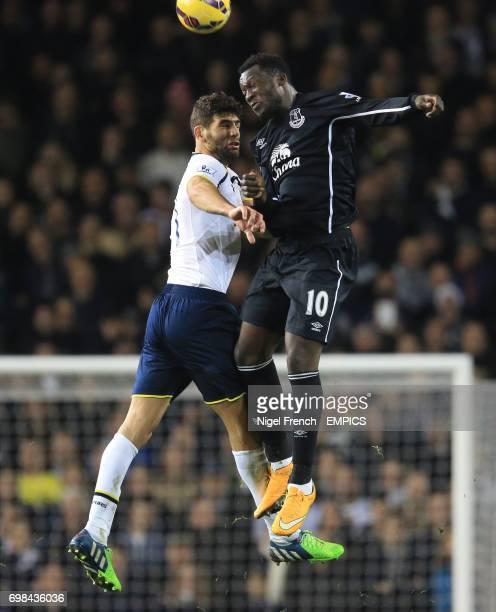 Tottenham Hotspur's Federico Fazio and Everton's Romelu Lukaku battles for the ball