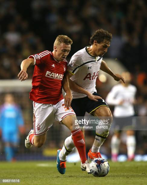 Tottenham Hotspur's Federico Fazio battles for possession of the ball with Nottingham Forest's Ben Osborn