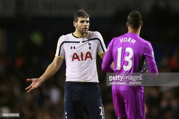 Tottenham Hotspur's Federico Fazio chats with goalkeeper Michel Vorm before the start of the second half
