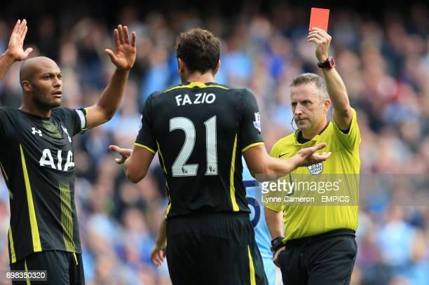 Tottenham Hotspur's Federico Fazio is sent off by referee Jonathon Moss