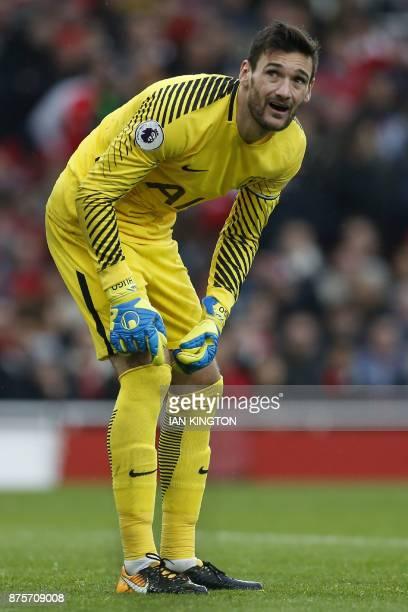 Tottenham Hotspur's French goalkeeper Hugo Lloris gestures during the English Premier League football match between Arsenal and Tottenham Hotspur at...