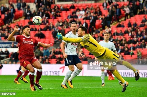 Tottenham Hotspur's French goalkeeper Hugo Lloris punches the ball clear during the English Premier League football match between Tottenham Hotspur...