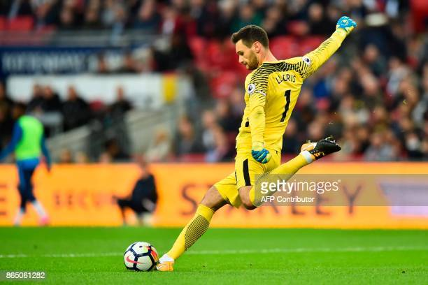 Tottenham Hotspur's French goalkeeper Hugo Lloris takes a kick during the English Premier League football match between Tottenham Hotspur and...