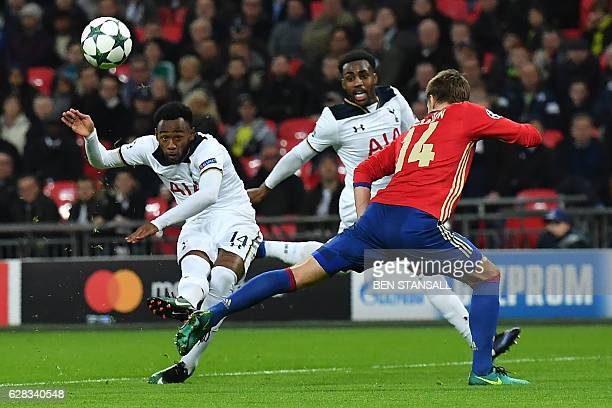 Tottenham Hotspur's French midfielder GeorgesKevin N'Koudou has an unsuccessful shot during the UEFA Champions League group E football match between...