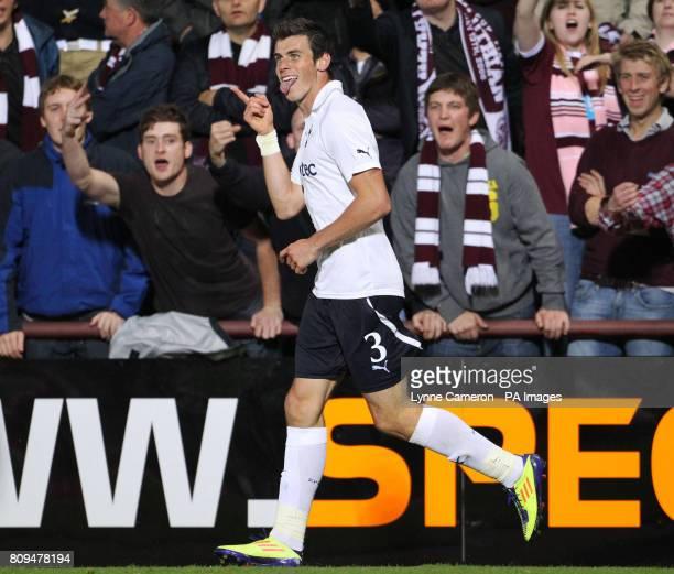 Tottenham Hotspur's Gareth Bale celebrates the fourth goal during the UEFA Europa League Play Off First Leg at Tynecastle Stadium Edinburgh