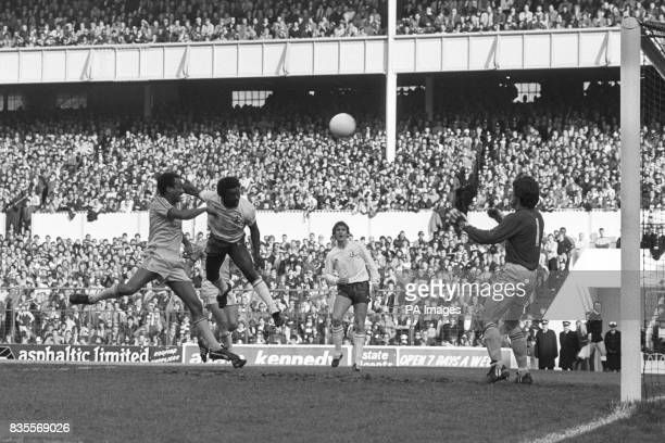 Tottenham Hotspur's Garth Crooks beats Notts County's Pedro Richards to the ball but skied his effort Also pictured Mark Falco for Tottenham Hotspur...