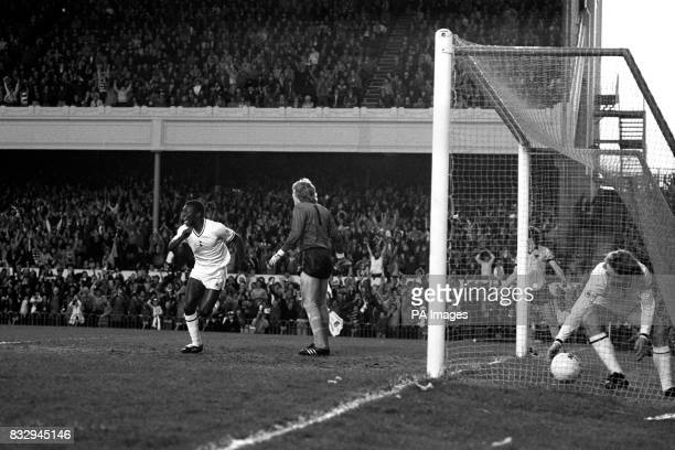Tottenham Hotspur's Garth Crooks celebrates his goal as Wolverhampton Wanderers goalkeeper Paul Bradshaw looks on dejected
