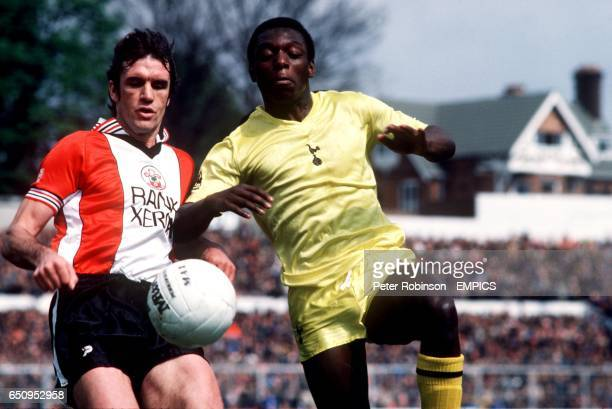 Tottenham Hotspur's Garth Crooks in action with Southampton's Dave Watson