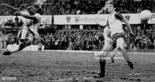 Tottenham Hotspur's Garth Crooks volleys home the winning goal past Stoke City's Steve Bould