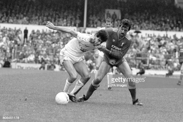 Tottenham Hotspur's Gary Stevens holds off Liverpool's Mark Lawrenson during the game Tottenham Hotspur won the match 10