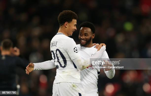 Tottenham Hotspur's GeorgesKevin Nkoudou celebrates scoring his side's third goal with Dele Alli during the UEFA Champions League group H match...