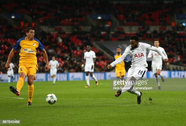 Tottenham Hotspur's GeorgesKevin Nkoudou with a second half shot during the UEFA Champions League group H match between Tottenham Hotspur and APOEL...