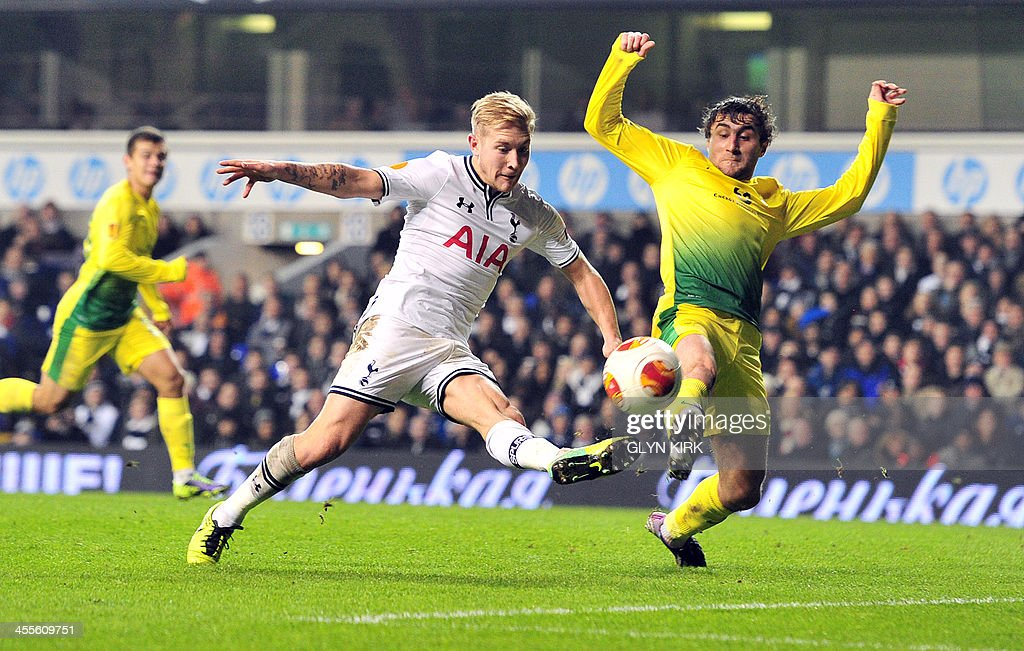 Tottenham Hotspur's German midfielder Lewis Holtby scores the third goal during the UEFA Europa League Group K football match Tottenham vs Anzhi...
