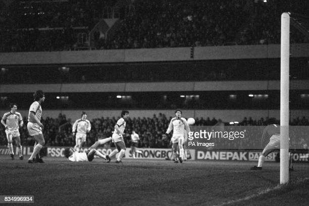 Tottenham Hotspur's Glenn Hoddle takes a tumble during the Milk Cup quarter final where Burnley won the match 41 Pictured for Burnley are Vince...