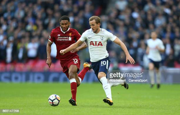 Tottenham Hotspur's Harry Kane and Joe Gomez during the Premier League match between Tottenham Hotspur and Liverpool at Wembley Stadium on October 22...