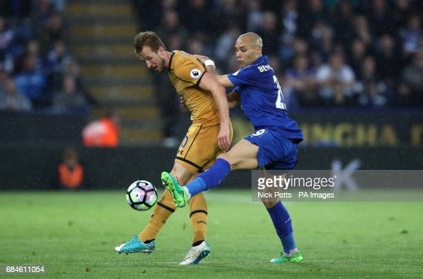 Tottenham Hotspur's Harry Kane and Leicester City's Yohan Benalouane battle for the ball during the Premier League match at the King Power Stadium...