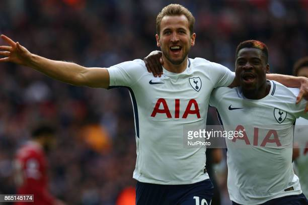 Tottenham Hotspur's Harry Kane celebrates scoring his sides first goal during Premier League match between Tottenham Hotspur and Liverpool at Wembley...