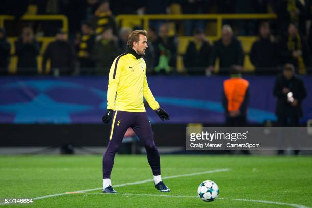 Tottenham Hotspur's Harry Kane during the prematch warmup during the UEFA Champions League group H match between Borussia Dortmund and Tottenham...