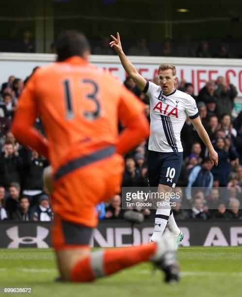 Tottenham Hotspur's Harry Kane gestures
