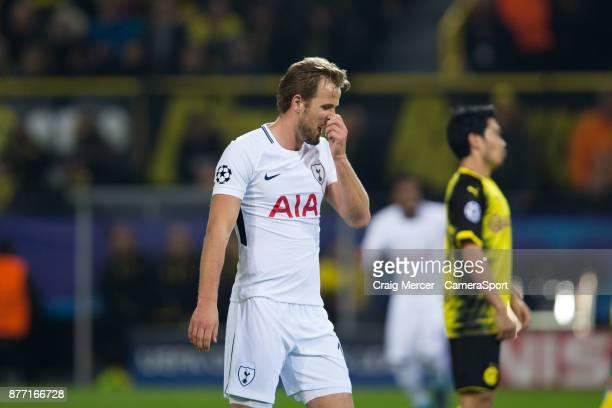Tottenham Hotspur's Harry Kane reacts during the UEFA Champions League group H match between Borussia Dortmund and Tottenham Hotspur at Signal Iduna...