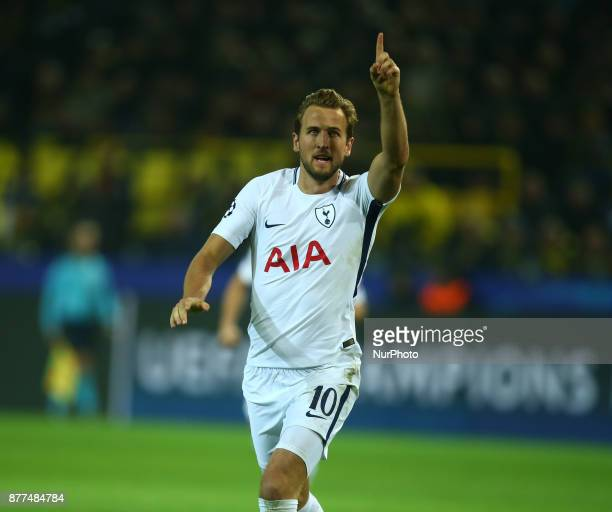 Tottenham Hotspur's Harry Kane scores his sides equalising goal to make the score 11 during UEFA Champion League Group H Borussia Dortmund between...