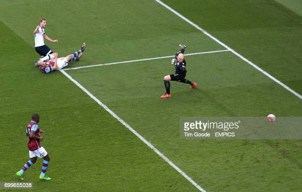 Tottenham Hotspur's Harry Kane scores his side's first goal of the game